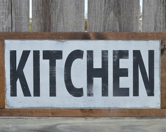 Framed Farmhouse KITCHEN Distressed Fixer Upper Style Sign. *Ready to Ship*