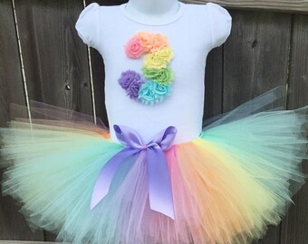 3rd Birthday Pastel Rainbow Tutu Outfit with Matching Headband for    Third Birthday Birthday Rainbow Outfit, 4th and 5th Also Available