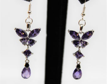 Amethyst earrings, dangle earrings, purple earrings, butterfly earrings, drop earrings, gift for her