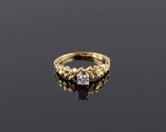 0.25 Ct Diamond Nugget Textured Engagement Ring Size 5.25 Gold