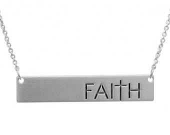 Silver Faith Bar Message Necklace