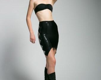 Zigzag Holographic Contrast Color Bodycon Pencil Skirt