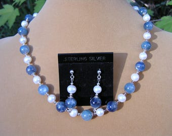 Blue Kyanite Necklace Pearls and Sterling Silver
