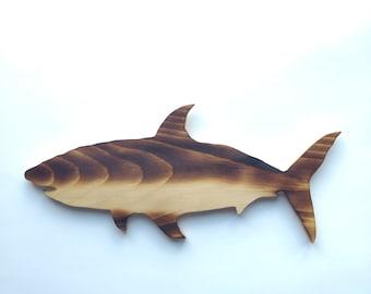 Shark Decor- Great White Shark Decor - Great White Shark Wood Wall Decor - Shark Wall Hanging - Wood Shark - Shark Decor - Shark Gift