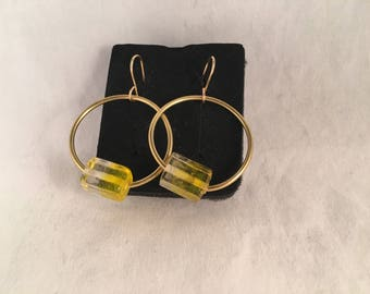 Gold Hoop Earrings with Rectangle Yellow and Clear Glass Beads on 14kt gold fill wire 1.75 Inches long 1 Inch Wide
