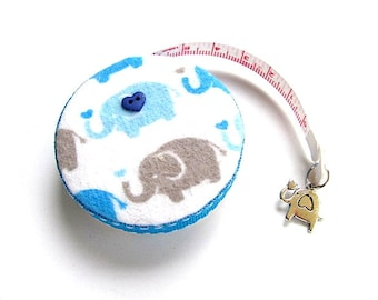 Measuring Tape with Blue and Gray Elephants Pocket Retractable Tape Measure