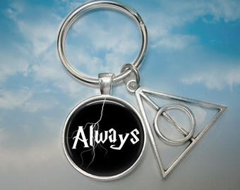 Always Key Chain - Harry Potter Key Chain - Always with Deathly Hallows Charm - Movie Key Chain