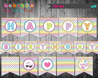 Roller Skate Happy Birthday Banner/Roller Skate Birthday Banner Digital/Roller Skate Banner/Printable Banner/ Birthday Banner/Banner/Party