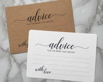 Advice for the Bride and Groom, Printed Pack of 10 Cards, Bride and Groom Advice Cards