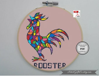 Geometric Rooster cross stitch pattern PDF Modern rooster cross stitch Chicken XStitch Chart Year of the Rooster Chinese Zodiac embroidery