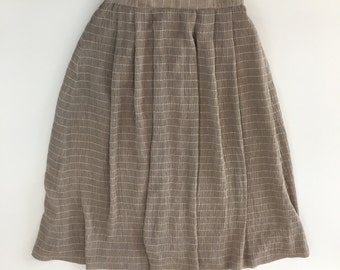 Vintage Mauve Swing Skirt with White Horizontals