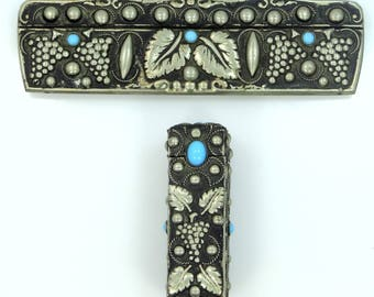 1930's 800 Silver Persian Turquoise Glass Comb Lipstick Set in Grapes Motif