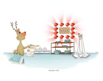 """8x10 Christmas Reindeer print.  Illustration named """"Reindeer Wish"""" from the Merry Critters collection."""
