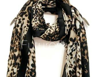Leopard Print With Black Trim Cashmere Scarf / Summer Scarf / Autumn Winter Scarf / Gift For Her / Womens Scarves / Handmade Accessories