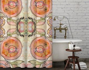 Shower Curtain Bohemian colorful neutral design boho bathroom shower curtain art boho bathroom accessories hippy curtain boho chic bath art