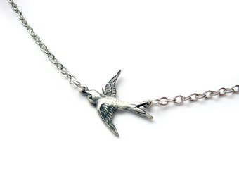 Silver Sparrow Necklace - Delicate Flying Bird - Swallow Necklace - Gift Under 20 - Bridesmaid Gift -  Stainless Steel Chain