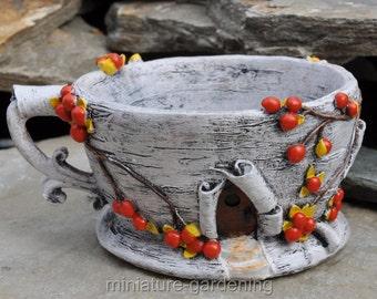 Birch Bark Tea Cup Planter for Miniature Garden, Fairy Garden