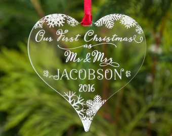 Our First Christmas as Mr & Mrs Personalised Bauble Snowflakes Etched Heart Xmas Tree Decoration Keepsake Newly Married Present Wedding Gift