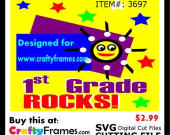 ITEM # CF-3697 -1st Grade Rocks Yellow - SVG Cutting Machine File - Instant Download - Commercial Use - 2.99