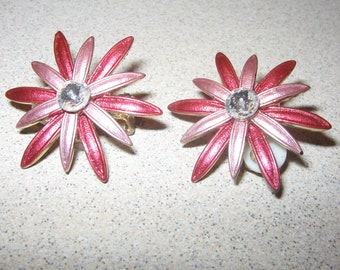 Clip On Quality Rhinestone Earrings Vintage Costume Jewelry #3640