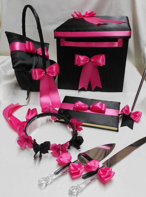 Black hot pink wedding accessories ring bearer pillow flower black hot pink wedding accessories ring bearer pillow flower girl basket halo ring pillow guest book pen card box cake knife set mightylinksfo Images