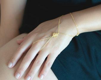 Gold Hand Chain | Dainty Slave Bracelet | Delicate Hand Bracelet | Finger Chain Bracelet | Gold Body Chain | Bridesmaid Gift | Boho Bracelet