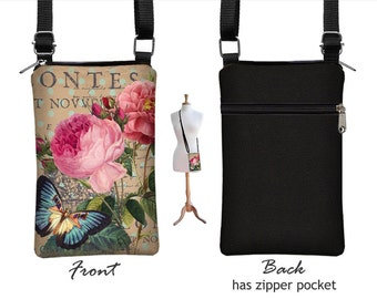 Cottage Rose iPhone 7 Plus Cell Phone Purse, Floral Fabric iPhone 7 Case, Small Crossbody Bag, Butterfly, Paris Post Card, Victorian RTS