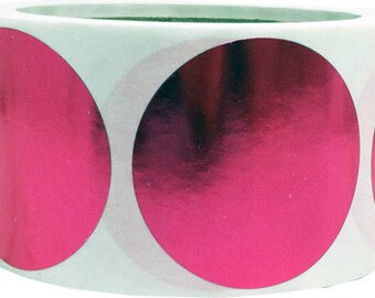 """Large Metallic Rose Stickers - 2"""" Inch Round Adhesive Labels 