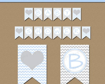Baby Boy Shower Download, Blue Grey Baby Shower Decorations, Pregnancy Photo Prop, Gray Chevron Banner, Welcome Baby Printable Banner BB1
