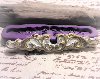 Ornate Scroll mold - flexible silicone push mold / craft/ dessert/ resin/jewelry and more...