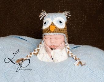 Custom Size Crochet Owl Hat (Boy) Sizes Newborn to 5 Years
