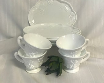 Vintage Indiana Milk Glass Harbeat Grape Luncheon Set of 4