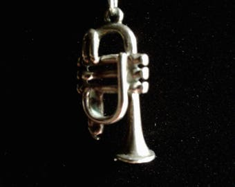 3D Antiqued Sterling Silver Trumpet (1)