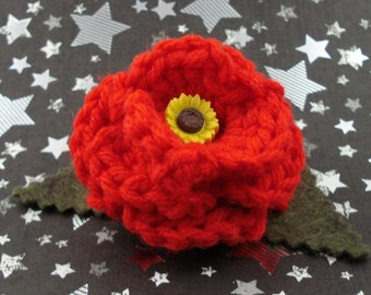 Amy Pond - Crocheted Rose Hair Clip - Red with Sunflower Embellishment (SWG-HC-DWAP01)