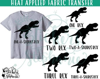 IRON On v244-B6 T-Rex One Two Three Three-A-Saurus Rex Four Five T-Shirt Transfer *Specify Color Choice in Notes or BLACK VINYL