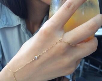 Cubic Zirconia Hand Chain / Gold Filled, Boho, CZ Stone / Anabel Nove