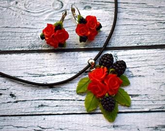 jewellery set, blackberry earrings, roses pendant, roses earrings, black jewellery set, red earrings, summer accessories, blackberry gift