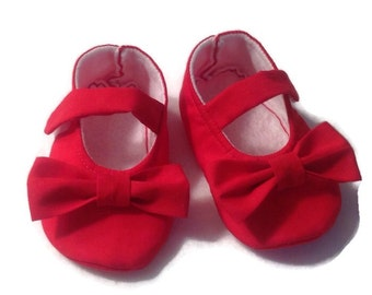 Red Baby Girl Shoes with Bows | Newborn size up to 24 Months