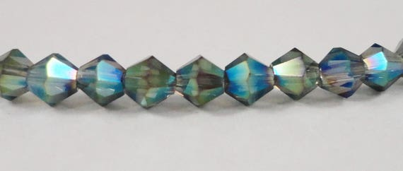 3mm Crystal Bicone Beads, 3mm Bicone Crystal Beads, Mystic Blue-Green AB Crystal Beads, Tiny Faceted Chinese Crystal Glass Beads, 100pcs