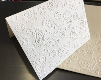 Paisley Foldover with patterned embossed cover  Blank inside set of 4 and envelopes