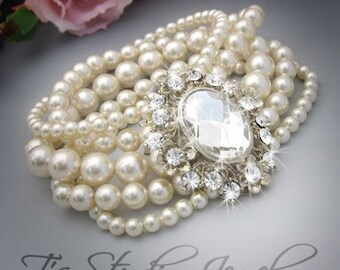Wedding Pearl Bridal Bracelet Multi 5 Strand Cuff Rhinestone Brooch Ivory or White Pearl Jewelry - AUDREY