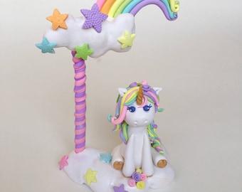 Unicorn cake topper,birthday cake topper,baby 1st birthday keepsake,polymer clay cake topper,girls baby shower,baby unicorn figures,custom