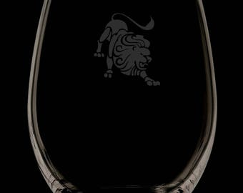 13 Ounce Leo Personalized Stemless Wine Glass