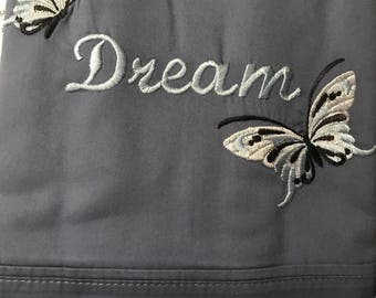 Embroidered Kingsized Butterfly Pillowcases. Set of 2.