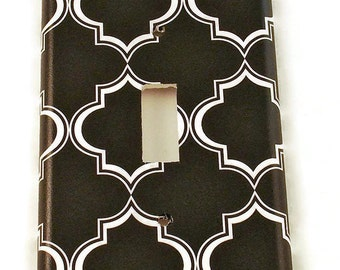 Light Switch Cover Wall Decor Switchplate Switch Plate in Black Lattice (215S)