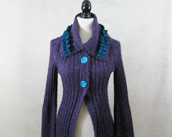 Embellished Sweater, Embellished Cardigan, Embellished Clothing, Refashion Clothing, Long Cardigan, Sweater Duster, SZ M, SZ 8