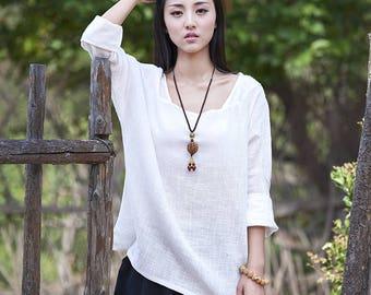 Women cotton and linen T-shirt – Large Loose Long Sleeve T-shirt