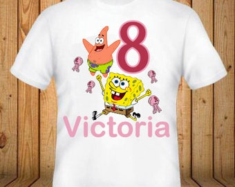 Spongebob Birthday Shirt - kids Birthday Shirts - Personalized Shirts - Custom Shirts - Kids - Birthday Shirts-