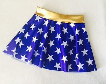 Wonder Woman Skirt Girls costume royal blue and white stars 6 9 12 18 24 months 2T 3T 4T 5T 5 6 7 8 9 10 11 12 Gold Baby Toddler Kids waist