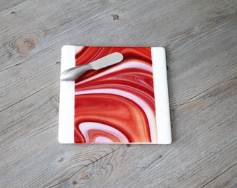 Swirling Orange/Red and White Fused Glass Cheese Board & Spreader; Fused Glass Plate; Glass Serving Plate; Nautical